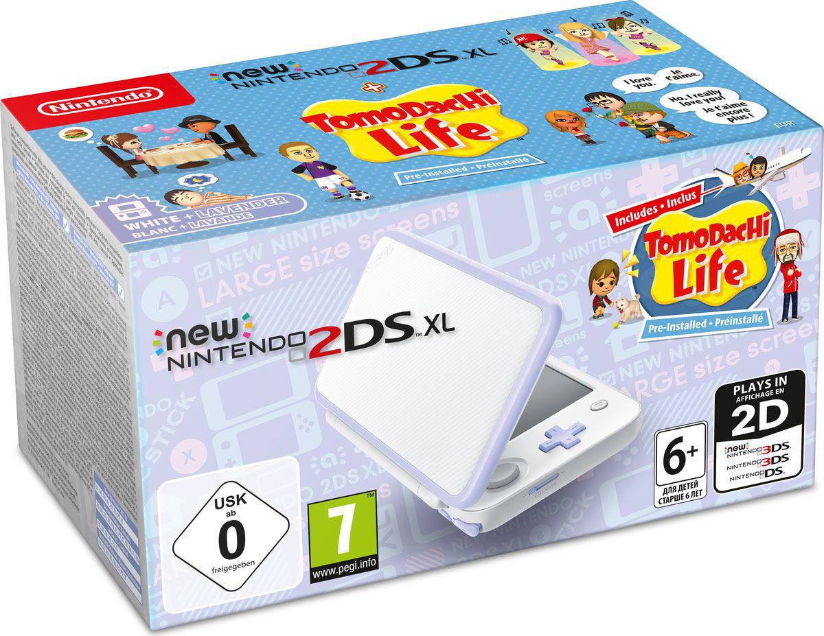 New 2DS XL console White -Lavender + Tomodachi Life
